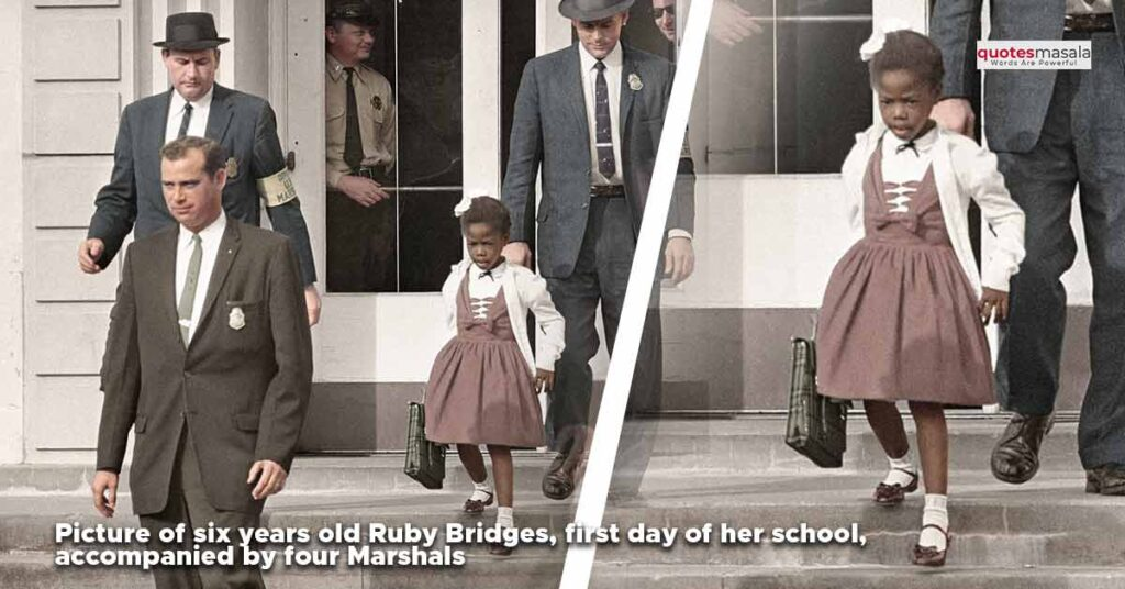 Image of Ruby Bridges on her first day of school accompanied by four marshals.