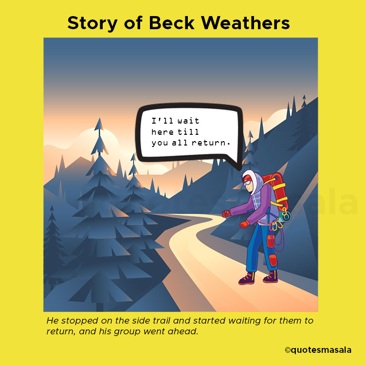 Illustration of Back Weather waiting on the trail.