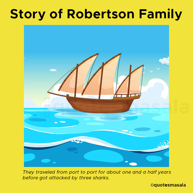 Illustration of Robertson Family's ship, Lucette during their sailing.