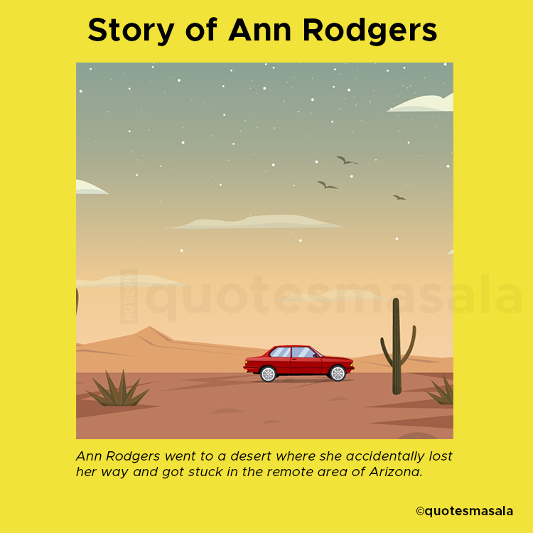 Illustration of Ann Rodgers's car when she lost her way | Story of Ann Rodgers