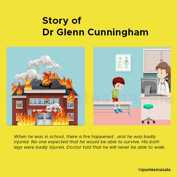 Illustration of Glenn Cunningham when he was in school and got injured in a fire accident. (Right)