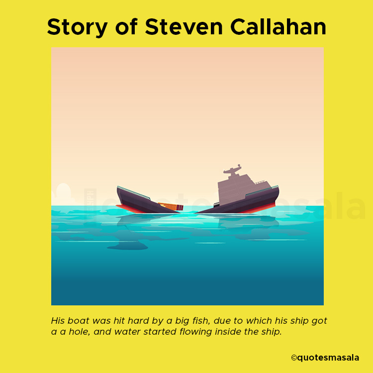 Illustration of ship getting sunk in sea   Story of Steven Callahan