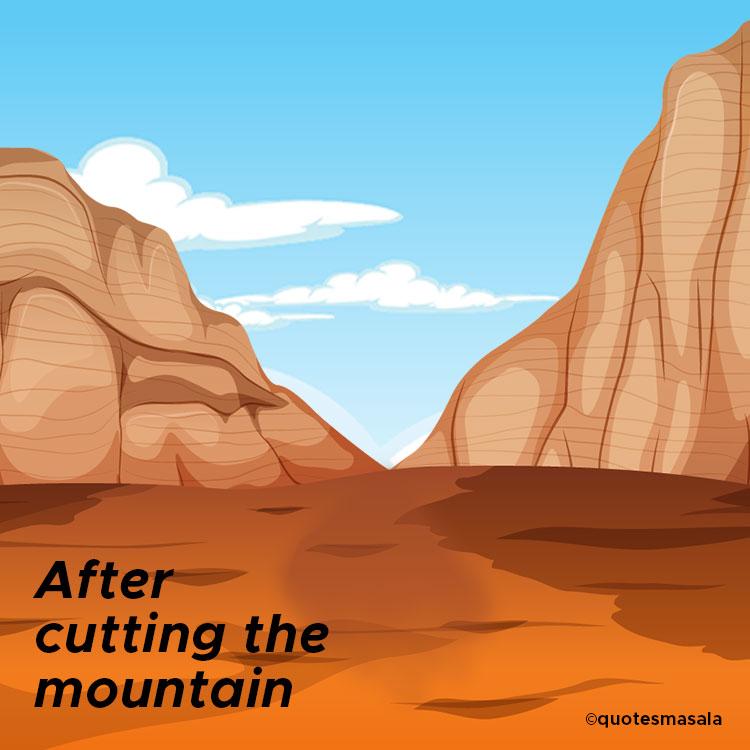 Illustration of the mountain after cutting.  Story of Dashrath Manjhi